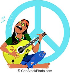 Hippie playing guitar - Man dressed in 1960s hippy fashion...