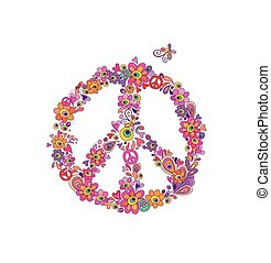 Hippie print with peace flower symbol with abstract flowers