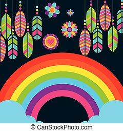 hippie rainbow feathers flowers boho free spirit