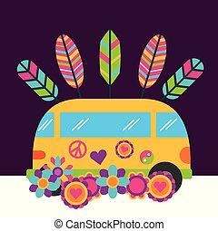 hippie, retro, ouderwetse , bloemen, bestelbus, vrije geest