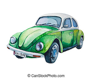 hippie, retro, voiture, isolé, white., aquarelle, vendange