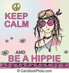 hippie., ser, hippie, retener, calma, niña