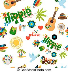 Hippie sign seamless pattern