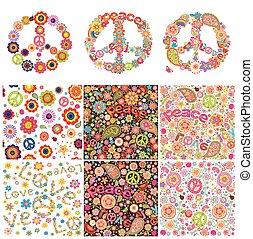 hippie, simbólico, diseño