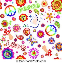 hippie, svamp, symbolsk, barnlige, tapet, blomster, farverig, abstrakt