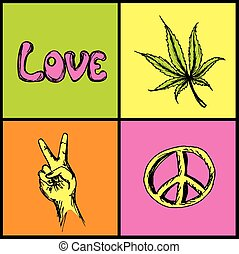 hippie symbols set - victory, love, peace and marijuana
