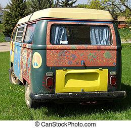 Hippie Van - A hippie van painted with bright colors.