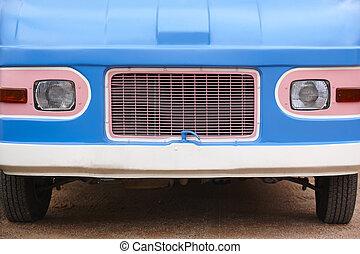 Hippie van front part. Retro vintage vehicle.