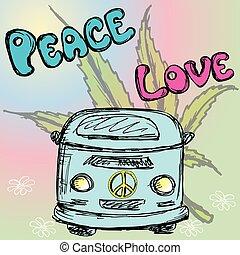 Hippie van, marijuana leaf.