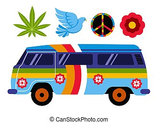 Hippie van or bus isolated vehicle and subculture symbols -...
