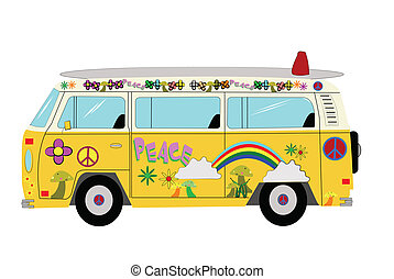 van popular during hippie era with patterns and surf board on roof