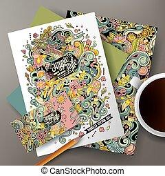hippie, vector, doodles, corporativo, caricatura, identidad
