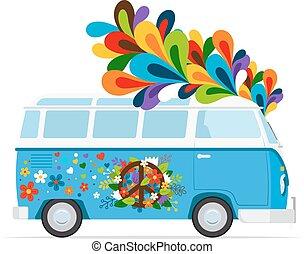 Hippie vector peace van - Hippie bus. Vector peace van...