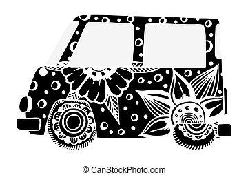 Hippie vintage car a mini van.