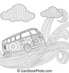 Hippie vintage car minivan on a wave in the sky vector illustration
