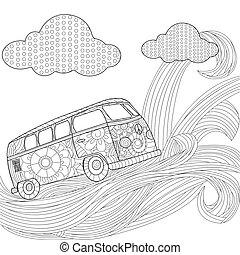 Hippie vintage car minivan on a wave in the sky vector illustration