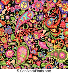 Hippie vivid wallpaper with colorful abstract flowers, hippie peace symbol, mushrooms and paisley