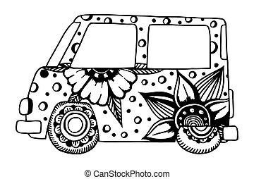 hippie, voiture d'époque, a, mini, van.