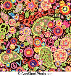Hippie wallpaper with colorful spring flowers and paisley