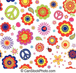Hippie wallpaper with abstract flowers