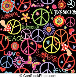 Hippie wallpaper with peace symbol
