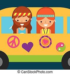 hippie woman and man in van vintage free spirit