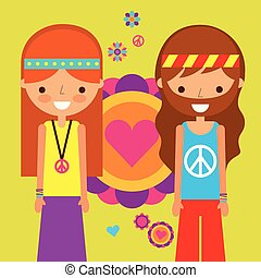 hippie woman and man peace and love heart love
