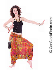 hippie woman doing yoga exercise - hippie young woman doing...