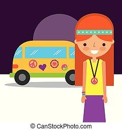 hippie woman traditional van retro free spirit