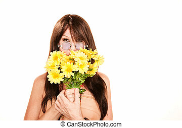 Hippie woman with plastic flowers