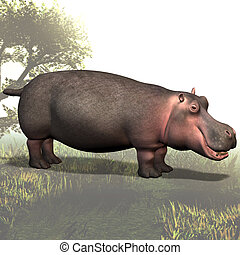 Hippo # 02 - Animal Series Image contains a Clipping Path /...