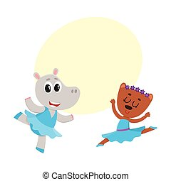 hippo and bear, puppy and kitten characters dancing ballet together