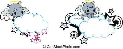 hippo angel cartoon cloud copyspace