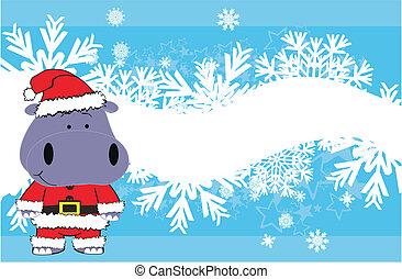 hippo baby cartoon xmas background in vector format very...