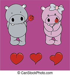 hippo baby love cartoon rose set