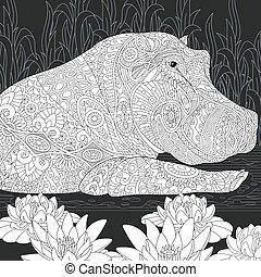 Hippo black and white coloring page - Hippo. Hippopotamus...