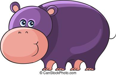 Hippo. Cartoon african wild animal - Cartoon african wild...