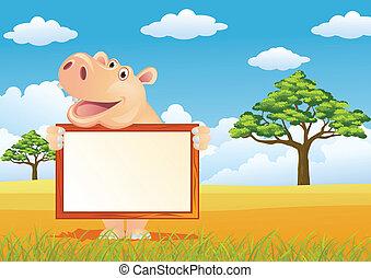 Hippo cartoon and blank sign