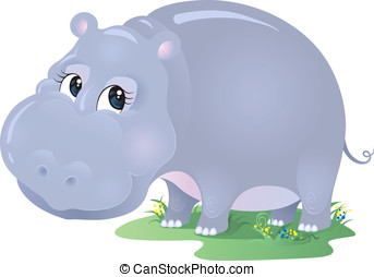 Hippo Cartoon - Cute animal character for your design. No...