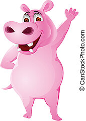 Hippo cartoon - Vector illustration of hippo waving hand