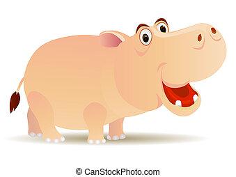 Hippo cartoon - vector hippo cartoon