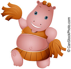Hippo Cheerleader with Clipping Path