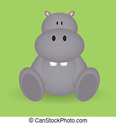 hippo - abstract cute hippo with shadow effect on green...