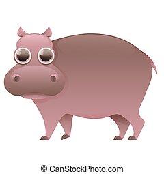 Hippo cute cartoon character
