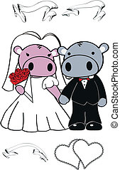hippo cute cartoon wedding set