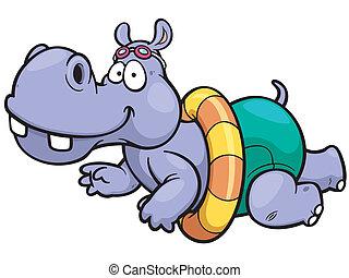 Hippo - Vector illustration of hippo swimming