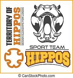 Hippo head - sport team. Mascot vector illustration