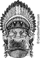 Hippo, Hippopotamus, behemoth, river-horse Wild animal...