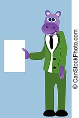 Hippo holding a blank paper