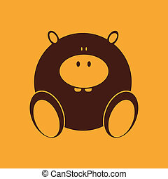 Hippo - abstract cute hippo on a yellow background